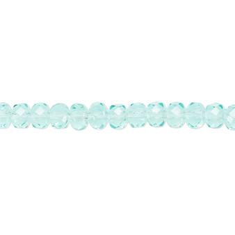 "5x4mm - Preciosa Czech - Light Aqua - 15.5"" Strand - Faceted Rondelle Fire Polished Glass Beads"