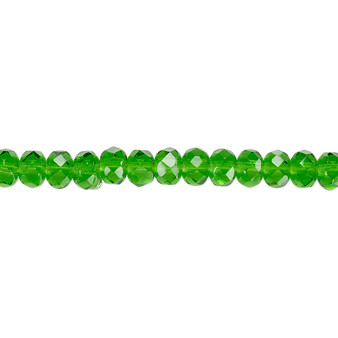 """5x4mm - Preciosa Czech - Emerald Green - 15.5"""" Strand - Faceted Rondelle Fire Polished Glass Beads"""