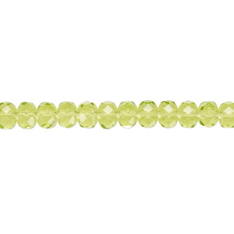 """5x4mm - Preciosa Czech - Olivine - 15.5"""" Strand - Faceted Rondelle Fire Polished Glass Beads"""