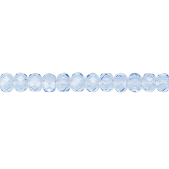 """5x4mm - Preciosa Czech - Sapphire Blue - 15.5"""" Strand - Faceted Rondelle Fire Polished Glass Beads"""