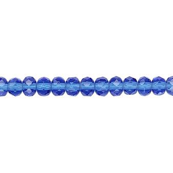 "5x4mm - Preciosa Czech - Light Cobalt - 15.5"" Strand - Faceted Rondelle Fire Polished Glass Beads"