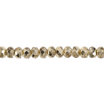 """5x4mm - Preciosa Czech - Metallic Pale Gold - 15.5"""" Strand - Faceted Rondelle Fire Polished Glass Beads"""