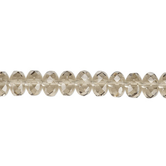 """7x5mm - Preciosa Czech - Smoke - 15.5"""" Strand - Faceted Rondelle Fire Polished Glass Beads"""