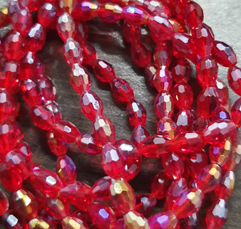 6x4mm  - Red AB - Strand (approx 72 beads)  - Faceted Oval Fire Electroplated Glass Beads