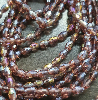 6x4mm  - Amethyst AB - Strand (approx 72 beads)  - Faceted Oval Fire Electroplated Glass Beads