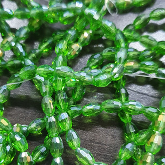 6x4mm  - Green AB - Strand (approx 72 beads)  - Faceted Oval Fire Electroplated Glass Beads