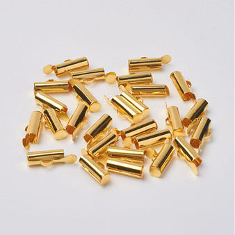 Iron Slide On End Clasp Tubes 13.5mm x 4.5mm Gold - to suit size 8 Seed Beads (3mm Inner Diameter) Sold in packs of 25
