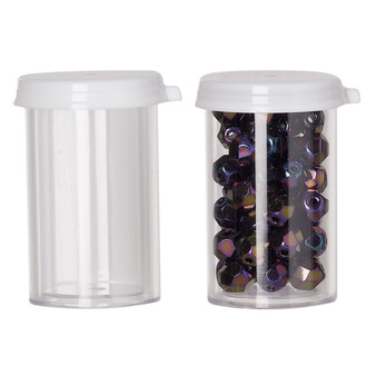 Vial, polystyrene and plastic, clear and white, 1-1/2 x 1-inch small vial with snap on cap. Sold per pkg of 6.