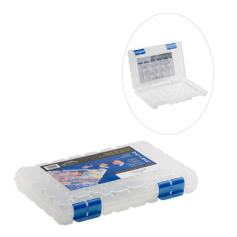 Organizer, Dot Box™, plastic, clear and blue, 11 x 7-1/2 x 1-1/2 inches. Sold individually.