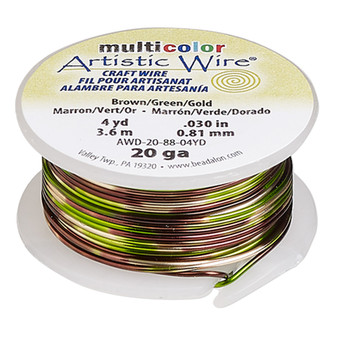 20 Guage - Artistic Wire® - Variegated Brown / Green / Gold - 4 yard spool - copper
