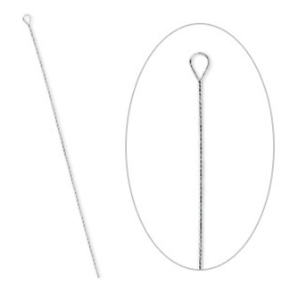 Needle, stainless steel, #8 light with 1.8mm eye width, 2-1/2 to 3-inch twisted wire. Sold per pkg of 100.