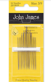 Needle, John James, milliners, nickel-plated carbon steel, #3 to #9, 1-1/2 to 2 inches. Sold per pkg of 16.