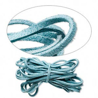 Cord, faux suede lace, turquoise blue, 3mm. Sold per pkg of 5 yards.