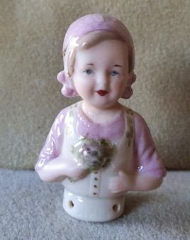 Porcelain half doll - Hollie - pink with flowers - 7.5cm high