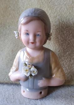 Porcelain half doll - Hollie - blue with flowers - 7.5cm high
