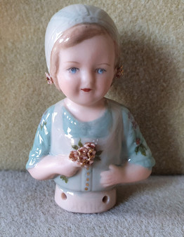 Porcelain half doll - Hollie - green with flowers - 7.5cm high