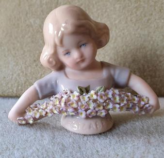 Porcelain half doll - Elizabeth - blue with flower bouquet - 5.5cm high