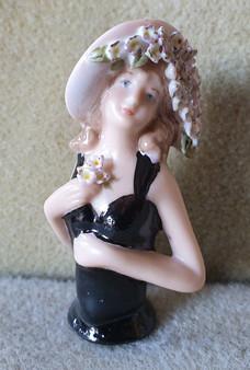 Porcelain half doll - Chloe - black with flowers - 6.5cm high