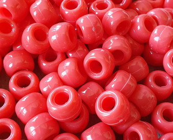 85 - Opaque Coral - 6x9mm - 30gms - Plastic Pony Beads