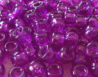 02 - Transparent Dark Amethyst - 6x9mm - 30gms - Plastic Pony Beads
