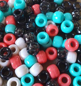 Mix Colour - 6x9mm - 30gms - Plastic Pony Beads