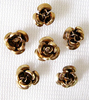 6x4.5mm - Coffee - 5gms (approx 120) - Aluminum Rose Flower