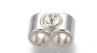 14x7mm - Platinum - 10pack - Alloy double column with rhinestone - Hole: 2x4mm