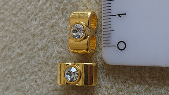 14x7mm - Gold - 10pack - Alloy double column with rhinestone - Hole: 2x4mm