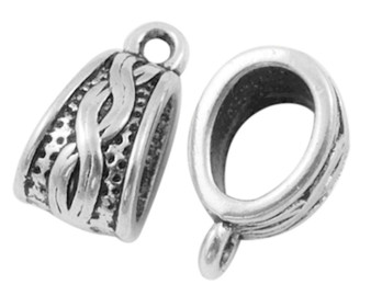 14x7.5mm - silver - 20 pack - Bail