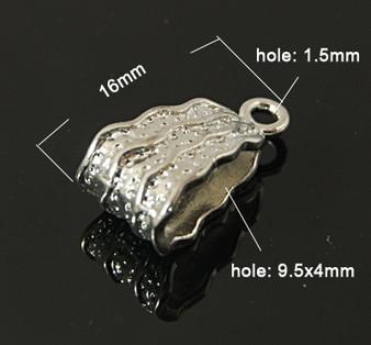16x8mm - Platinum - 20 pack - Bail - Hole: 9.5x4mm