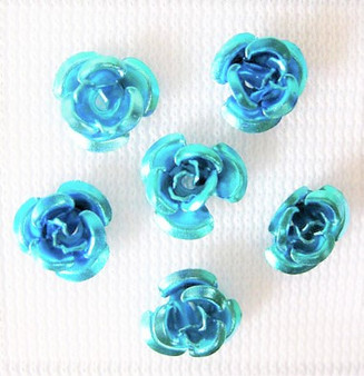 6x4.5mm - Turquoise - 5gms (approx 120) - Aluminum Rose Flower