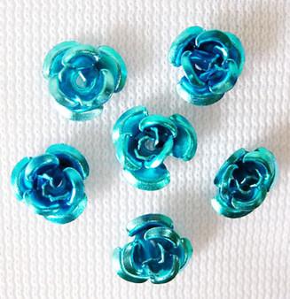 6x4.5mm - Cyan - 5gms (approx 120) - Aluminum Rose Flower