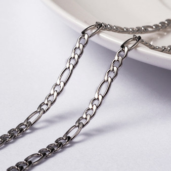 1 metre of Vacuum Plating 304 Stainless Steel Figaro Chain, 4 - 6.5mm x 3mm, 0.8mm thick
