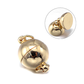 Magnetic Clasp - Round 15mm x 10mm with loops - Gold - 2 pack