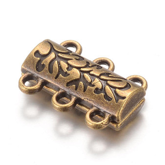 Magnetic Clasp - 14mm x 19 x 6mm with 6 loops - Antique Bronze - 2 pack