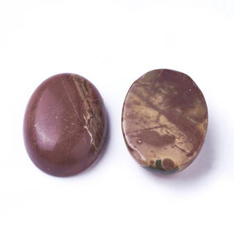 Natural Picasso Stone/Picasso Jasper Cabochons, Oval, 25mm x 18mm, 7~10mm thick - 2 pack