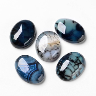 Natural Dragon Veins Cabochons, Flat Back, Oval, Dyed, Marine Blue, 25mm x 18mm, 6.5mm thick