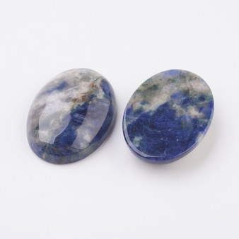 Natural Sodalite Flat Back Cabochons, Oval, 18x13mm