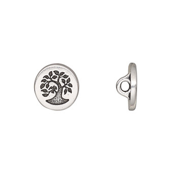 Button, TierraCast®, antique silver-plated pewter (tin-based alloy), 12mm flat round with bird in tree and loop. Sold per pkg of 2.