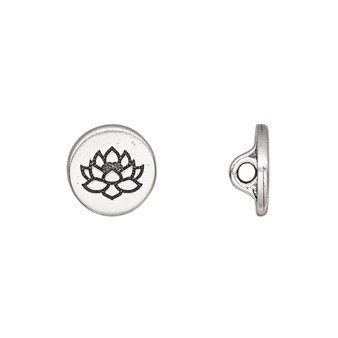 Button, TierraCast®, antique silver-plated pewter (tin-based alloy), 12mm flat round with lotus and loop. Sold per pkg of 2.
