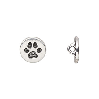 """Button, TierraCast®, """"Spot and Whiskers"""" collection, antique silver-plated pewter (tin-based alloy), 12mm flat round with dog paw and loop. Sold per pkg of 2."""