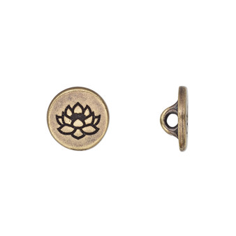 Button, TierraCast®, antique brass-plated pewter (tin-based alloy), 12mm flat round with lotus and loop. Sold per pkg of 2.