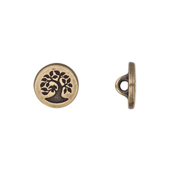 Button, TierraCast®, antique brass-plated pewter (tin-based alloy), 12mm flat round with bird in tree and loop. Sold per pkg of 2.