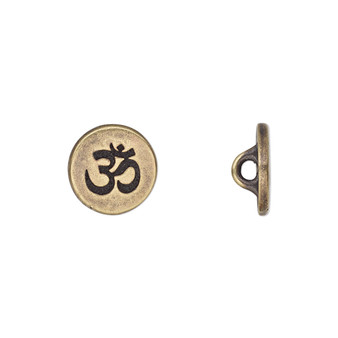 Button, TierraCast®, antique brass-plated pewter (tin-based alloy), 12mm flat round with Om symbol and loop. Sold per pkg of 2.
