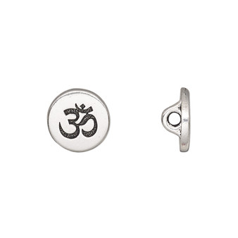 Button, TierraCast®, antique silver-plated pewter (tin-based alloy), 12mm flat round with Om symbol and loop. Sold per pkg of 2.