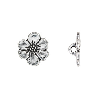 Button, TierraCast®, antique silver-plated pewter (tin-based alloy), 15x14mm flower. Sold per pkg of 2.