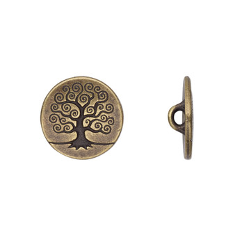 Button, TierraCast®, antique brass-plated pewter (tin-based alloy), 16mm flat round with tree of life and closed loop. Sold per pkg of 2