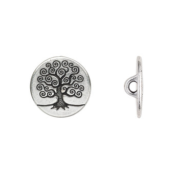 Button, TierraCast®, antique silver-plated pewter (tin-based alloy), 16mm flat round with tree of life and loop. Sold per pkg of 2.