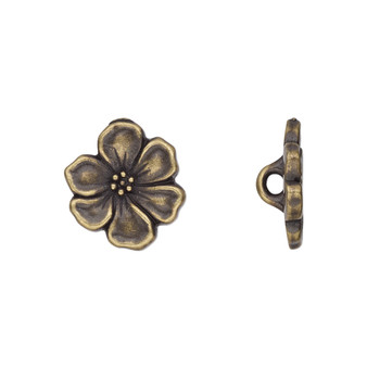 Button, TierraCast®, antique brass-plated pewter (tin-based alloy), 15x14mm flower with closed loop. Sold per pkg of 2.