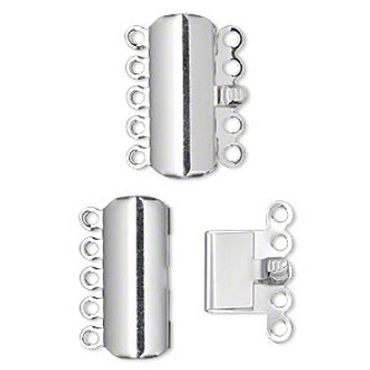 Clasp, 5-strand tab, silver-plated brass, 19x8mm curved rectangle. Sold per pkg of 10.
